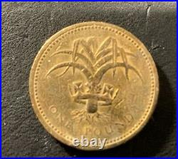 RARE 1985 ONE POUND ELIZABETH II COIN ERROR / upside down edge mint