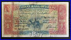 RARE Egypt One 1 Pound 1924 Camel P18 old Banknote