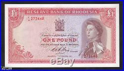 RHODESIA P-28. 1967 One Pound. QE. 11 Portrait. UNC