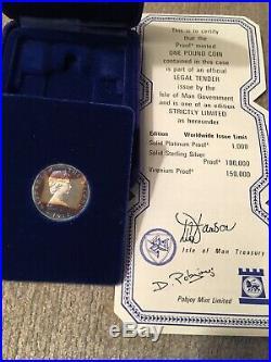 Rare 1978 Platinum Proof Isle of Man One Pound Coin. Triskellion On Island