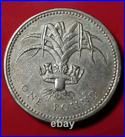 Rare 1985 Upside Down Edge Mint Error One Pound Elizabeth II Coin