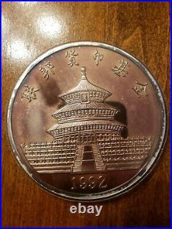 Rare 1992 Chinese Panda One Pound 12 Troy Oz. 999 Silver Medallion