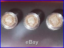 Rare 2013 RM 30th Anniv Of Royal Arms Silver Proof 3 X £1 One Pound Coin Set