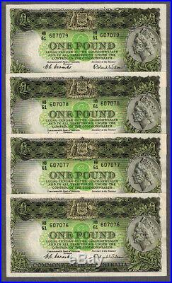 Rare Run of Four Australian 1953 Coombs/Wilson Consecutive One Pound Notes R33