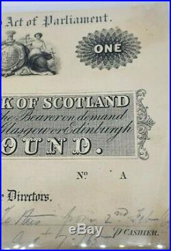 Rare The Union Bank Of Scotland One Pound Proof Banknote 1865 Very Fine