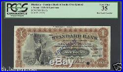 Rhodesia-Standard Bank Of South Afr One Pound 1925-38 Ps147s Specimen Very Fine