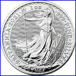 Roll of 25 2021 UK 2 Pound Silver Britannia. 999 1 oz BU IN STOCK