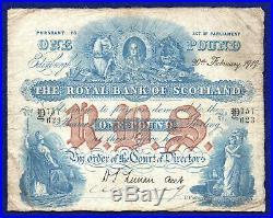 Royal Bank of Scotland, 1919 One Pound, £1 Banknote, Very Scarce (Ref. B0711)