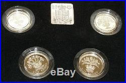Royal Mint 1984 1985 1986 1987 4 x £1 Coins One Pound Coin Silver Proof Set