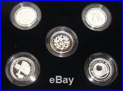 Royal Mint Silver Proof 5 x £1 One Pound Coin Set 2002-2006 Yearly Designs