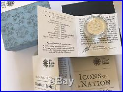 SCARCE 2014 RM PIEDFORT Silver Proof Floral UK £1 One Pound Northern Ireland