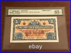 SCOTLAND 1937-48 SPECIMEN P-S815cs One 1 Pound PMG 65 EPQ