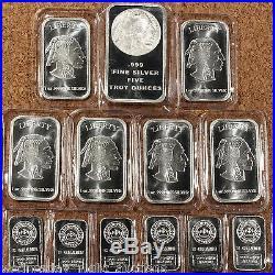 SILVER ONE Troy Pound U. S. Mixed Silver Coins Lot Pre-1965.999 Bars Bonus