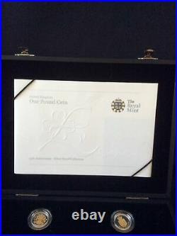 Sale Royal Mint 25th Anniversary Gold and Silver Proof One Pound £1 Set & COA