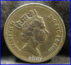 Scarce 1986 English One Pound Elizabeth II withEdge Motto Mint Error