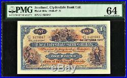 Scotland, Clydesdale Bank Ltd One Pound 1947 Pick-189e CH UNC PMG 64