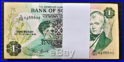 Scotland One Pound 1986 BUNDLE 100 CONSECUTIVE Pick-111f GEM UNC