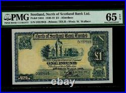 ScotlandP-S644,1 Pound, 1945 North of Scotland Bank Ltd PMG Gem UNC 65 EPQ