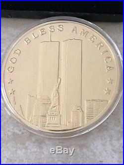 September 11, 2001 One Troy Pound. 999 Fine Silver Round Commemorative with Box