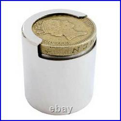 Silver One Pound Coin Holder. Hallmarked Sterling Silver New Pound Coin Holder