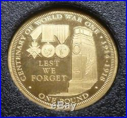 Solid 22ct Gold Sovereign Style £1 Pound TDC 2014 World War One WWI Centenary