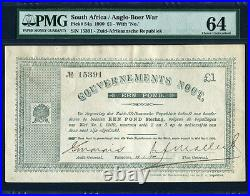 South Africa 1900, Anglo-Boer War 1 Pound, 15391, P54a, PMG 64 UNC