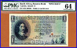 South Africa One Pound 1948 SPECIMEN Pick-93s CH UNC PMG 64