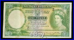 Southern Rhodesia One Pound 1954 # P13c Queen