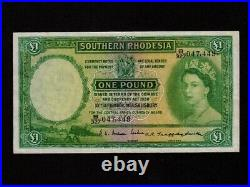 Southern RhodesiaP-17,1 Pound, 1955 Central Africa Currency Board QEII VF+