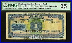 Southwest Africa One Pound 2nd January 1951 Pick-2d Very Fine PMG 25