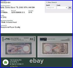 Syria 1974 100 Pounds Specimen P#98ds PMG UNC 64 EPQ TOP POP ONLY ONE