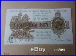 T31 Fisher £1 (One Pound) Banknote UNC Condition