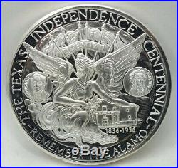 Texas Alamo 1986 Independence Centennial. 999 Silver Medal One Pound Round BA313