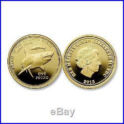 Tristan Da Cunha 2015 Tiger Shark One Pound Gold Proof Coin with COA and Box