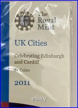 UK Cities Celebrating Edinburgh & Cardiff £1 One Pound Coins 2011 Sealed Pack
