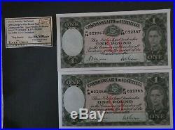 UNC 1938 R29 RUN 2 X CONSECUTIVE SHEEHAN McFARLANE ONE POUND NOTE AUSTRALIA