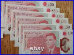 UNC £50 Fifty Pounds Turing Mint # AA01 # First Run. Consecutives Available