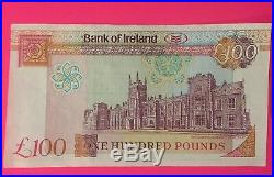 UNC Rare one hundred pound BANK OF IRELAND note, 1992, Prefix A