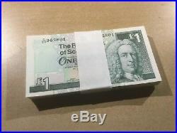 UNC Scottish £1 One Pound Banknote Wad Bundle Bulk 100 UK British Notes