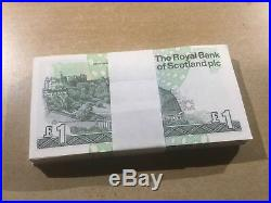 UNCIRCULATED Scottish £1 One Pound Banknote Wad Bundle Bulk 100 British Notes 1
