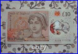 Unique £10 note ten pound ++LOOK++ BJ29 777775 Lucky Seven