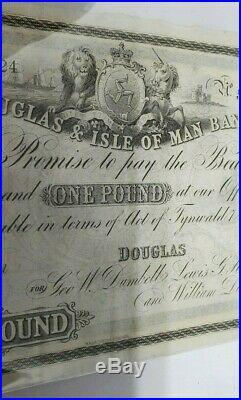 Very Rare Douglas & Isle Of Man Bank One Pound Unissued Banknote 18xx M260