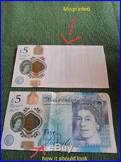 Very rare £5 pound note misprinted one side collectors only. Never seen another