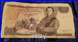 Vintage Retro Old Rare £5 Note Duke of Wellington Retro 5 Pounds White Notes