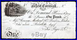 West Cornwall Bank Redruth, One Pound, unissued, (C 1811-12), Outing 1772
