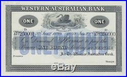 Western Australian Bank (Perth) 1899 One Pound Unissued Specimen Note MVR# 3c Un
