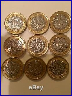 X9 Rare 2016 New One Pound Coins